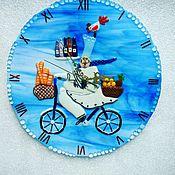 Для дома и интерьера handmade. Livemaster - original item Wall clock in the technique of fusing Cheerful cook. Handmade.
