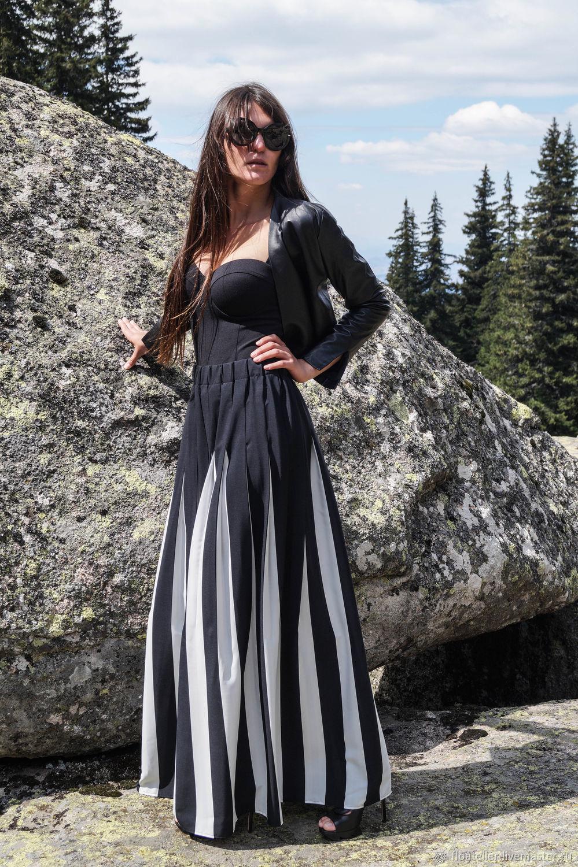 Юбки ручной работы. Ярмарка Мастеров - ручная работа. Купить Черная белая длинная юбка Maxi / стильная юбка / F1701. Handmade.
