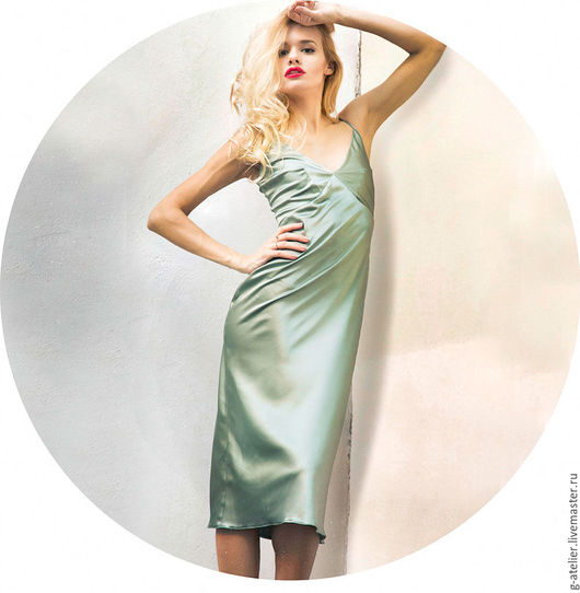 Платья ручной работы. Ярмарка Мастеров - ручная работа. Купить Зеленое платье-комбинация отрезное. Handmade. Морская волна, комбинация