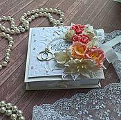 """Открытки ручной работы. Ярмарка Мастеров - ручная работа Свадебная коробочка для денег """"Нежный коралл"""". Handmade."""