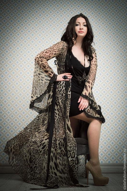 Халаты ручной работы. Ярмарка Мастеров - ручная работа. Купить Леопардовый халатик в пол. Handmade. Комбинированный, халатик, домашняя одежда
