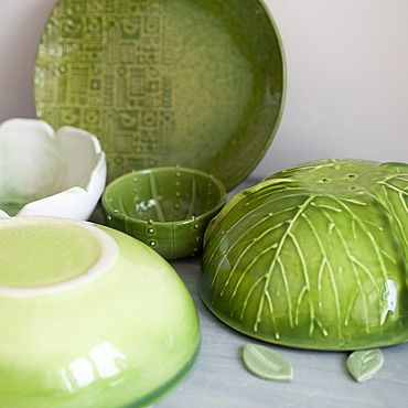 Посуда ручной работы. Ярмарка Мастеров - ручная работа Салатник капустный. Handmade.