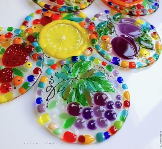 Kitchen handmade. Livemaster - handmade. Buy coasters made of glass, fusing coffee and Tea ceremony.Purple, glass