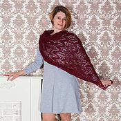 Одежда handmade. Livemaster - original item Women`s Poncho Delicate Openwork knit collars halfWool yarn vinous. Handmade.