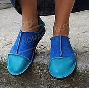 Обувь ручной работы handmade. Livemaster - original item Copy of Copy of Espadrilles made of suede and leather Blue with silver. Handmade.