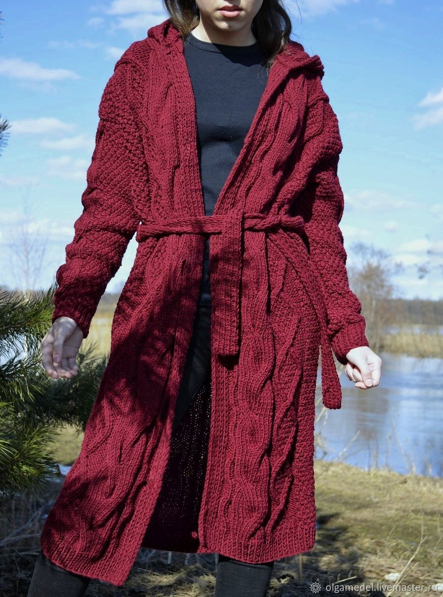 Cardigan with diamonds and hooded in Bordeaux color, Cardigans, Yoshkar-Ola,  Фото №1