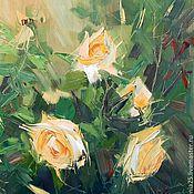 Картины ручной работы. Ярмарка Мастеров - ручная работа Картина маслом Персиковые розы. Handmade.