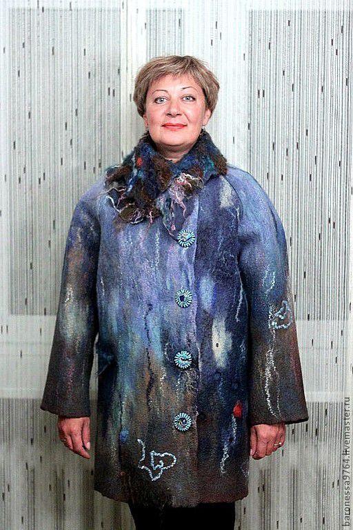Верхняя одежда ручной работы. Ярмарка Мастеров - ручная работа. Купить Валяное пальто. Зимой нескучно.. Handmade. Морская волна