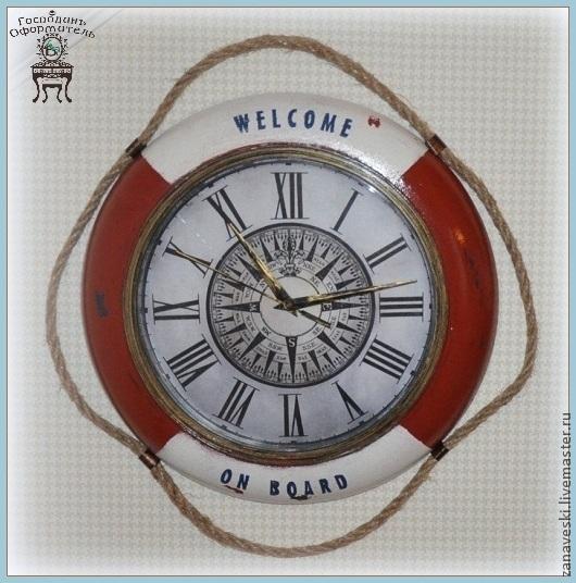 """Часы для дома ручной работы. Ярмарка Мастеров - ручная работа. Купить Часы """"Спасательный круг"""". Handmade. Бордовый, путешествие"""