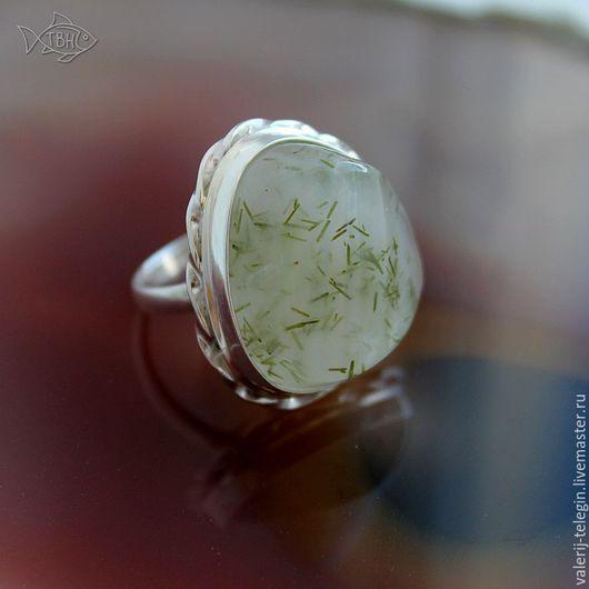 Кольца ручной работы. Ярмарка Мастеров - ручная работа. Купить Кольцо серебряное празем с эпидотом. Handmade. Натуральный камень, прозрачный