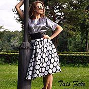 Одежда ручной работы. Ярмарка Мастеров - ручная работа Юбка от TAIS FEKO  Черно-белый горох. Handmade.