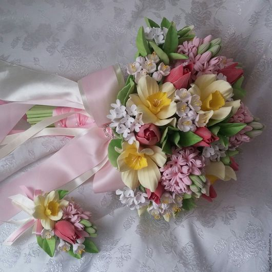 Свадебные цветы ручной работы. Ярмарка Мастеров - ручная работа. Купить Свадебный букет + бутоньерка. Handmade. Комбинированный