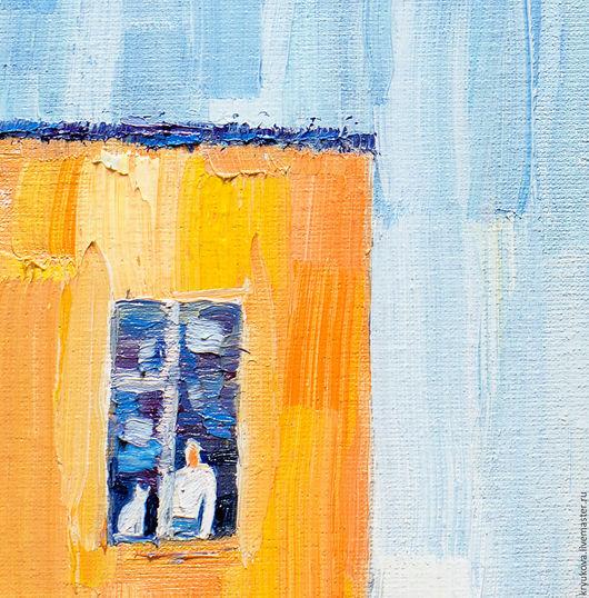Картина Холст масло Импрессионистическая живопись Картина человек и кошка Город пейзаж масло Городской пейзаж картина Яркая картина в подарок