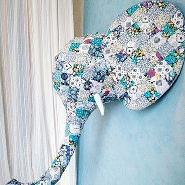 Для дома и интерьера ручной работы. Ярмарка Мастеров - ручная работа Элементы интерьера: текстильный слон на стену. Handmade.
