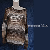 Одежда ручной работы. Ярмарка Мастеров - ручная работа Абстрактный свитер ручной работы. 53% меринос, 47% акрил. Размер S-M. Handmade.