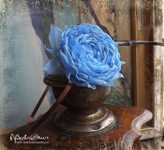 голубой цветок, синяя роза, ободок с цветком, синий цветок, голубая роза, обруч с цветком, ободок для волос, обруч для волос
