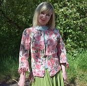 Одежда ручной работы. Ярмарка Мастеров - ручная работа Жакет валяный шерстяной женский Розовые розы валяный жакет розовый. Handmade.