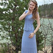 Одежда handmade. Livemaster - original item Knitted hollow-out long skirt knitted hollow-out crop top. Handmade.