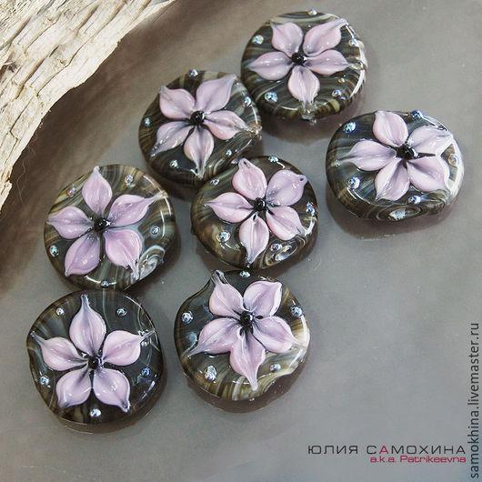 """Для украшений ручной работы. Ярмарка Мастеров - ручная работа. Купить Бусины """"Цветы на камнях. Розовые."""" лэмпворк. Handmade."""