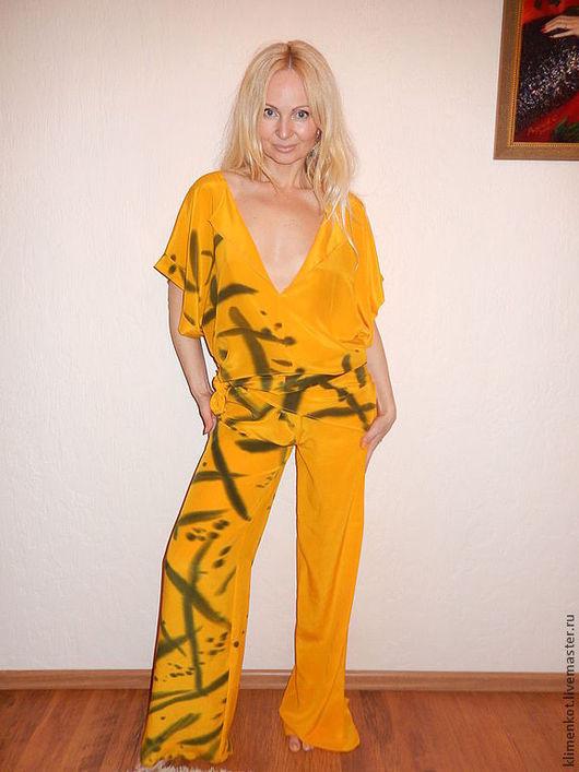 Брюки, шорты ручной работы. Ярмарка Мастеров - ручная работа. Купить комплект брюки и майка - Оранж и графика. Handmade. Оранжевый