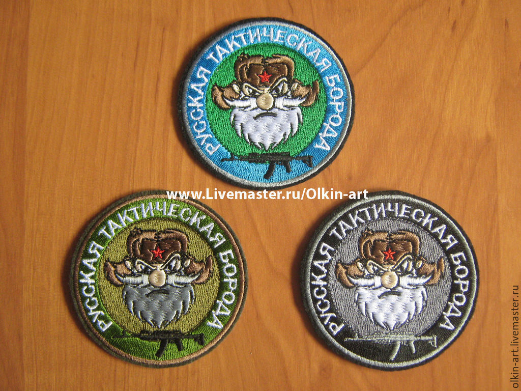 Stripe `RUSSIAN TACTICAL BEARD - AK` (color / camouflage / black)  Machine embroidery. Beloretskiy stripe. Patch. Chevron. Patch. Embroidery. Chevrons. Patches. Stripe. To purchase a patch.