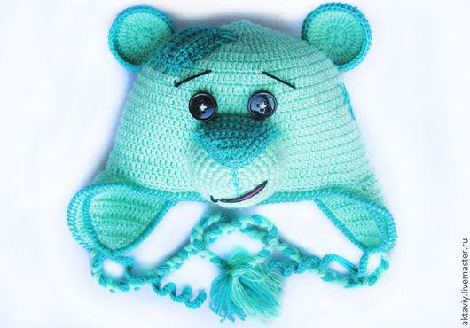 Шапки и шарфы ручной работы. Ярмарка Мастеров - ручная работа. Купить Шапочка медвежонок. Handmade. Зеленый, для детей, шапка вязаная