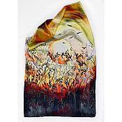 Платки ручной работы. Ярмарка Мастеров - ручная работа «Закат» платок(батик). Handmade.