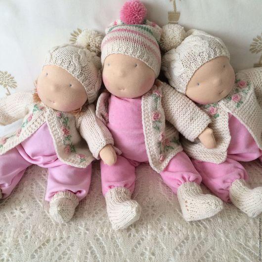 Вальдорфская игрушка ручной работы. Ярмарка Мастеров - ручная работа. Купить Тройняшки. Handmade. Бледно-розовый, авторская кукла