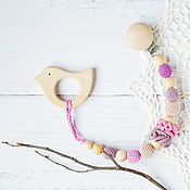Одежда handmade. Livemaster - original item Teether-teething toy with a bird on holder pink purple. Handmade.