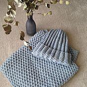Аксессуары handmade. Livemaster - original item Knitted set cap with lapel and Snood. Handmade.