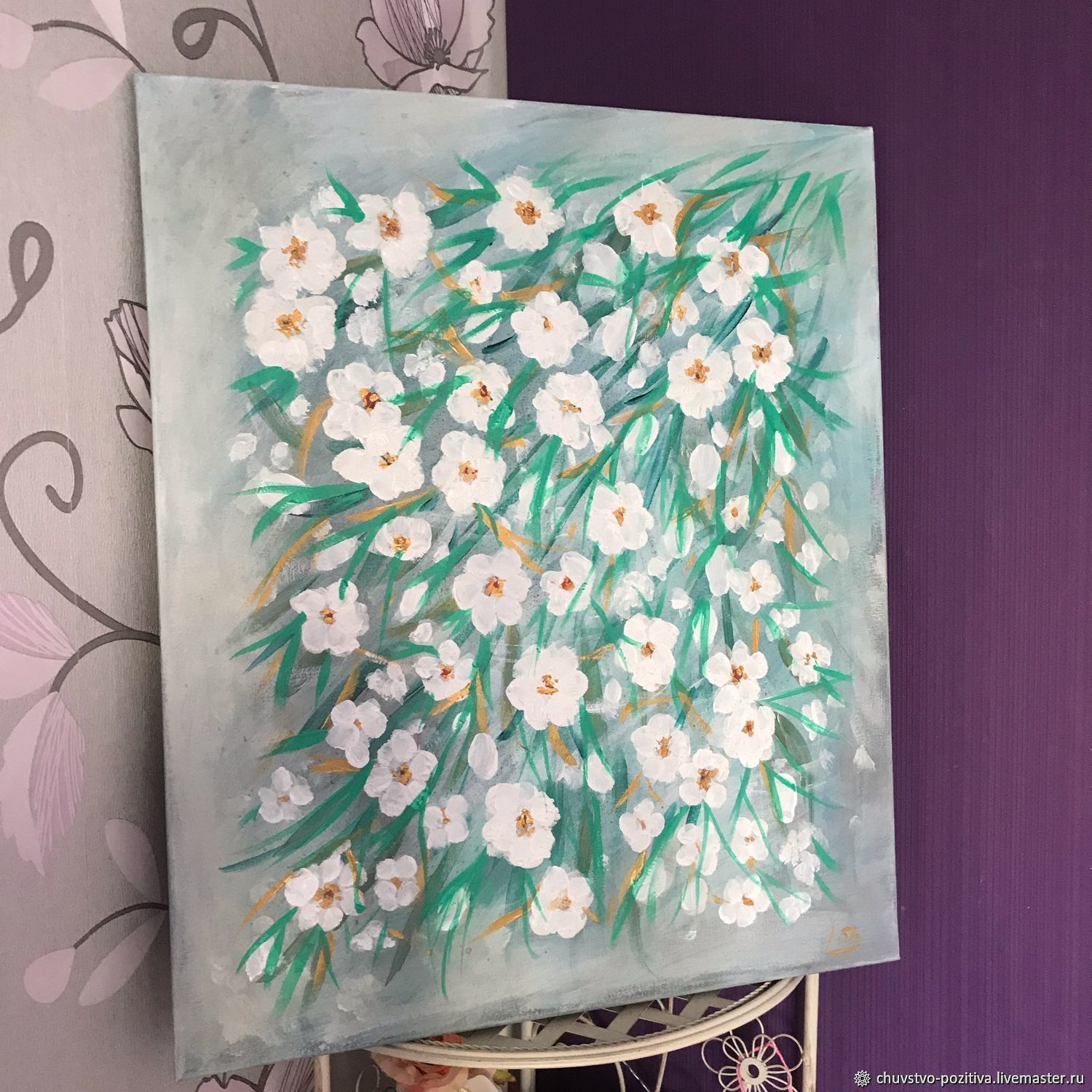 Abstract flower painting 'Flowers from Tiffany' 60h50h1,5.  cm, Pictures, Volgograd,  Фото №1