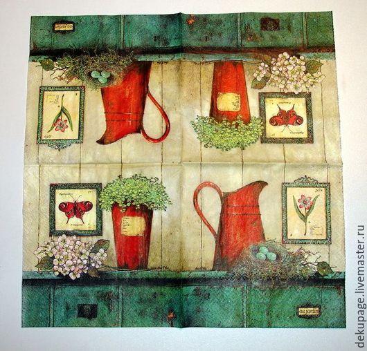 Декупаж и роспись ручной работы. Ярмарка Мастеров - ручная работа. Купить ост 2 штСалфетка Натюрморт с красным чайником. Handmade.