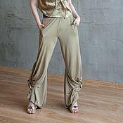 Одежда handmade. Livemaster - original item S_044 Embroidered straight pants Crazy Legs, color gray-green. Handmade.