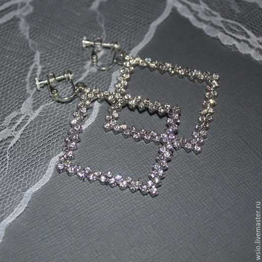 Клипсы-ромб с ювелирным стеклом   `Сияние` размер=6,5 см. цвет фурнитуры  `серебро` цена=1200р.  БЕЗ ПОВТОРА!