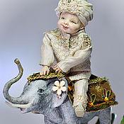 Куклы и игрушки ручной работы. Ярмарка Мастеров - ручная работа Мальчик на слоне. Handmade.