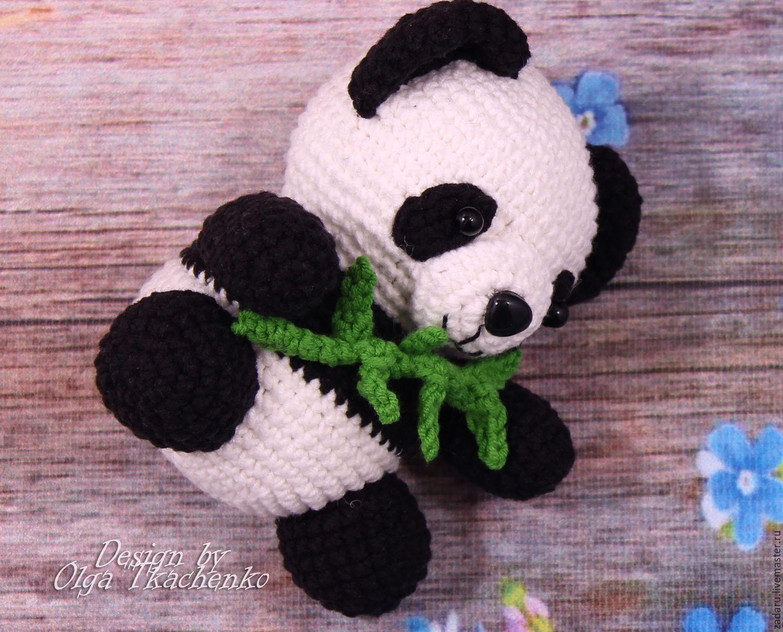 Вязание игрушки панды крючком 87