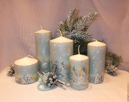 Свечи ручной работы. Ярмарка Мастеров - ручная работа. Купить Свечи Зимний лес. Handmade. Свечи, небольшой подарок