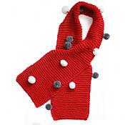 Одежда детская handmade. Livemaster - original item Red knitted scarf with POM-poms. Handmade.