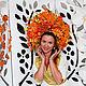 Диадемы, обручи ручной работы. Заказать Диадема венок пышный из листьев кокошник осень на голову flower crown. Марта Порада (Marriam). Ярмарка Мастеров.
