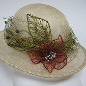 Аксессуары ручной работы. Ярмарка Мастеров - ручная работа Соломенная шляпа с цветком. Handmade.