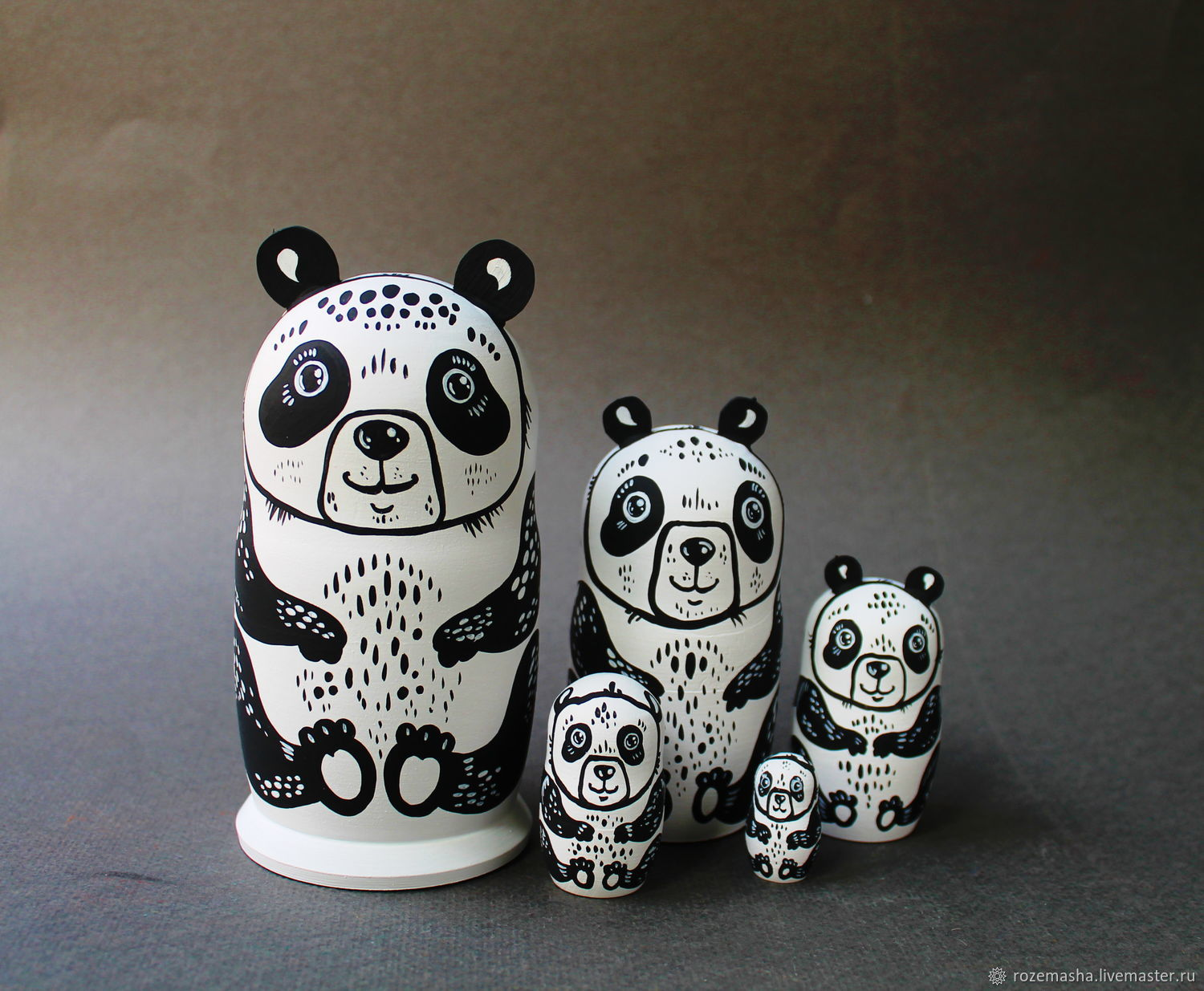 Educational Toy Matryoshka Funny Pandas wooden toy home decor, Puzzle, St. Petersburg,  Фото №1