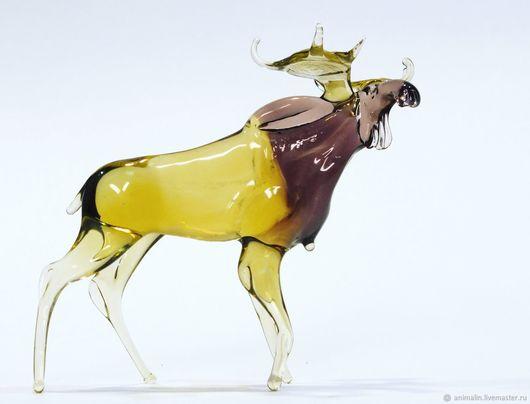 Figurines handmade. Livemaster - handmade. Buy Decorative figurine made of colored glass Moose].Snow, interior, horny
