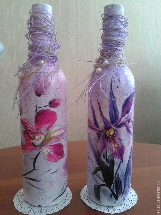 Персональные подарки ручной работы. Ярмарка Мастеров - ручная работа. Купить декупаж бутылок к различным праздникам. Handmade. Разноцветный