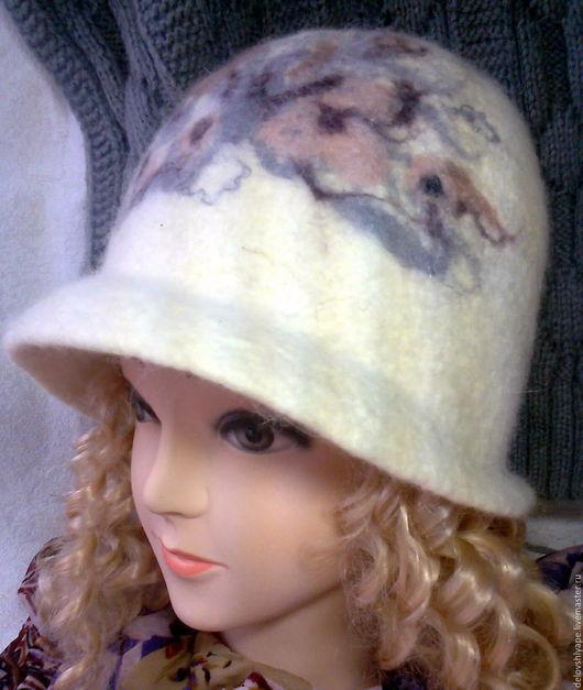 Шляпы ручной работы. Ярмарка Мастеров - ручная работа. Купить ШЛЯПКА МОРОЗНЫЙ ДЕНЬ. Handmade. Белый, волокна шерсти