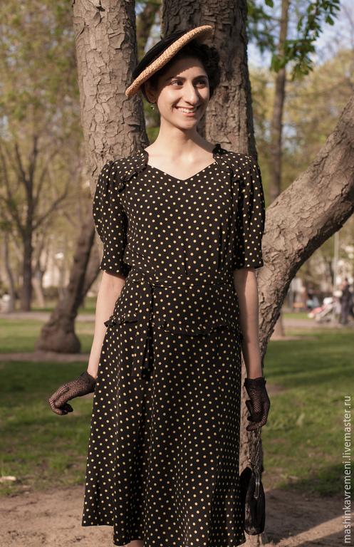 """Платья ручной работы. Ярмарка Мастеров - ручная работа. Купить Платье """"Андалусийский горошек"""". Handmade. Черный, винтажный стиль, горох"""