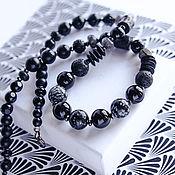 Работы для детей, handmade. Livemaster - original item Necklace with onyx, snow obsidian, labradorite, hematite. Handmade.