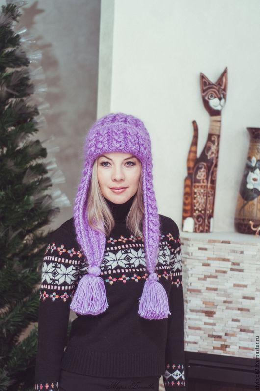 Шапки ручной работы. Ярмарка Мастеров - ручная работа. Купить Сиреневая Зима- вязаная шапка с ушками на подкладе. Handmade. Сиреневый