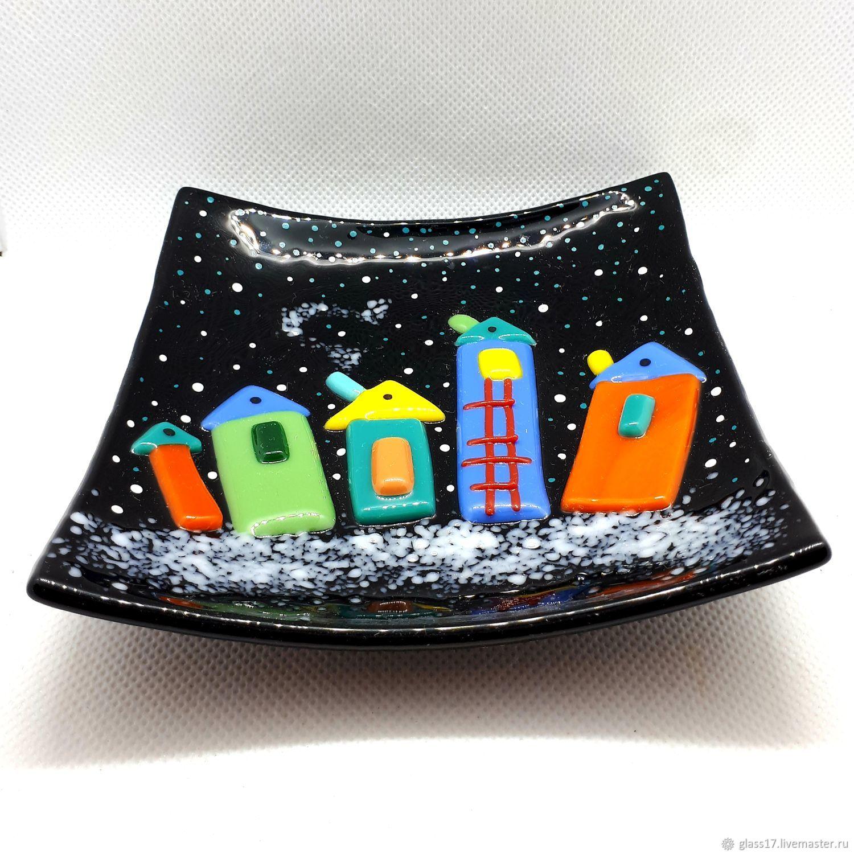 Новогодняя тарелочка, стекло,фьюзинг!, Тарелки, Москва,  Фото №1