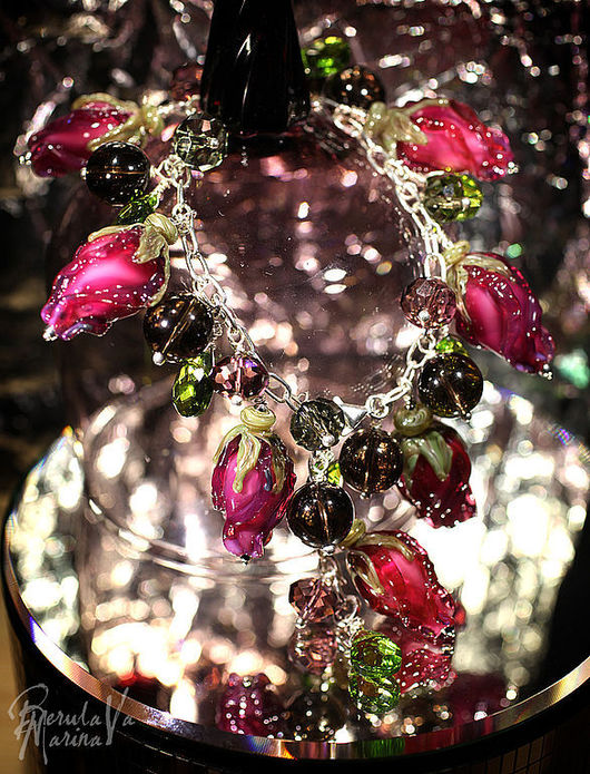 Bracelets handmade. Livemaster - handmade. Buy Bracelet 'Pink buds'.Marina berulava, flowers, dark pink, silver, beads