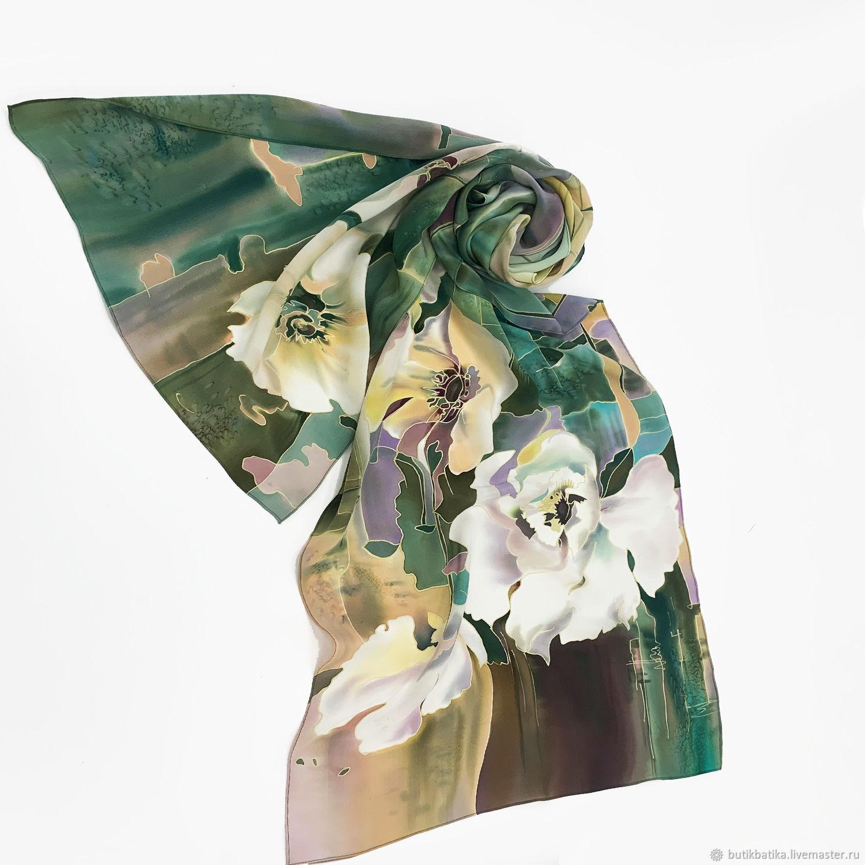 Шелковый шарф батик Цветы на воде, Шарфы, Москва,  Фото №1